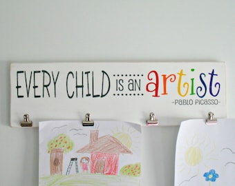 Every Child is an Artist Wooden Sign with Clips and Extra Brag Board Children's Kid's Art Display with Clips