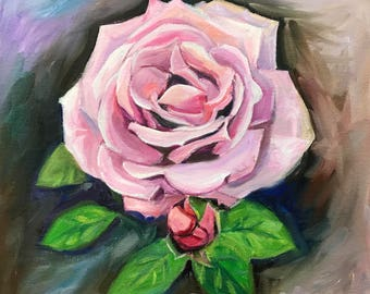 """Original Oil Painting Ready to Hang On Canvas Wall Art Wall Decor """"Blue Girl Rose II"""""""
