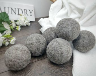 Dryer ball set, wool felted ball, XL wool laundry balls, gifts for her, non scented, crunchy mom gifts, Handmade, grey balls