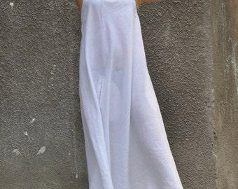 Casual Linen White Dress for Womens, One Shoulder Dress, Long Backless Dress for Women, Party Wear Stylish Dress, Long Dress - DR0236LE
