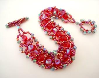 Carnaval rouge perlé spirale plate flashy déclaration bracelet avec des perles rouges et gris irisé