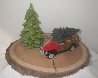 Bringing Home the Tree Display ~ ~ 1940 Ford Woody Wagon ~ Christmas Truck ~ Farmhouse Christmas ~ Country Christmas ~ Christmas Mantel~