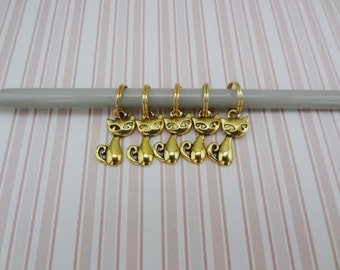 Set of 5 Gold Cat Stitch Markers for Knitting - Ready to Ship