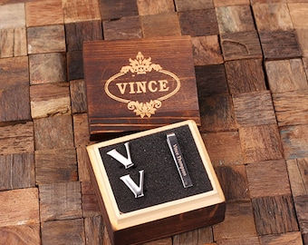 "Initial "" V "" Personalized Men's Classic Cuff Link & Tie Clip with Wood Box Monogrammed Engraved Groomsmen, Best Man, Father's Day Gift"