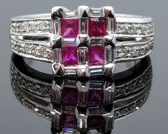 "Checkerboard style Ruby & Diamond 18k white gold Ring ""Final Sale"""