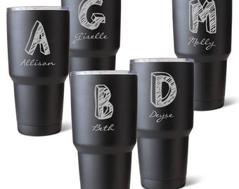 Etched Monogram Tumbler Swell Inspired Double Wall
