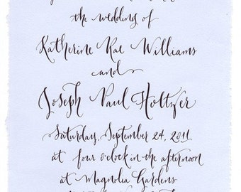 wedding invitation calligraphy custom hand lettering