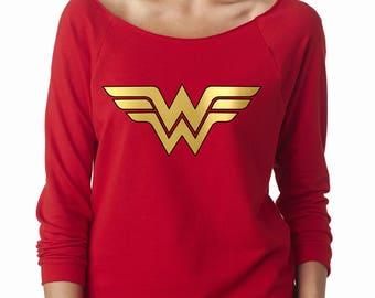 Wonder Woman Shirt,Running Top,Wonder Woman Marathon with Gold WW Logo, Sweatshirt,workout clothing. sweatshirt Gym shirt