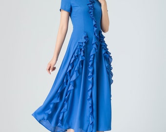 blue ruffle dress, prom chiffon dress, midi dress, summer dress, womens dresses, party dress, fitted dress, short sleeves dress 1916
