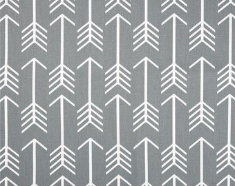 Ships Same Day Gray Arrow Fabric, Drapery Fabric, Gray and White Fabric, Arrow COOL GRAY Home Decor Fabric - by the yard