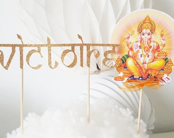 Cake decoration - first name in glitter gold + topper theme ganesh Hindu