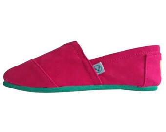 Magenta pink espadrilles handmade traditional