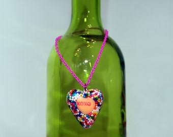 SALE! Valentine's Candy Necklace - Sweethearts Candy - Sprinkle Jewelry