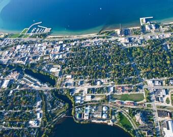 Arial View of Traverse City Michigan Digital Photo File