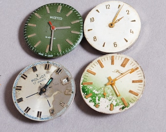 Set of 4 Vintage watch movements, watch parts, watch faces, cases (4)