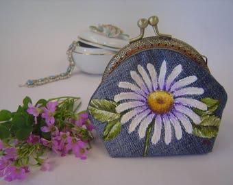 Gift for her. Coin purse. Metal frame purse. Kisslock coin purse. Denim purse. Hand painted.