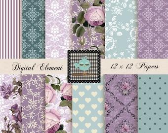 Digital Paper, Scrapbook Paper, Floral Shabby Chic Digital Paper, Digital Printable Paper, Digital Cottage Rose. No. V 7.09
