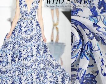 Blue Floral Print White 100% Pure Silk Chiffon Fabric Width 53 Inch 6 m/m