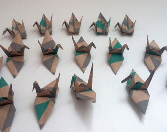 Set of Kraft origami cranes