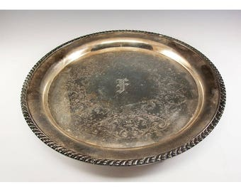 Vintage Silver Plate Serving Tray 13 inch diameter Wm Rodgers  With an F monogram