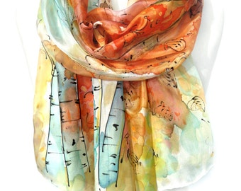 Birch Trees Scarf. Silk Scarf. Forest Scarf. Floral Silk Scarf. Hand Painted Silk Shawl Anniversary Present 18x71in (45x180cm) MADE to Order