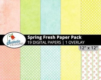 Spring Fresh Digital Paper Pack (Digital Scrapbooking Paper Backgrounds)