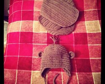 Monkey Swaddler and Hat set