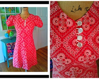 Groovy Mod Mini Dress / Summer/ Go Go  Dress/ 60's 70's / Red Bandana Print / Cap Sleeves / Empire Waist/ Dolly Dress / Hippie  /  Medium