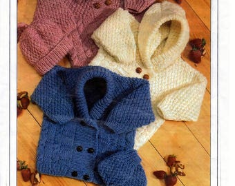 Instant download PDF Knitting Pattern - Cardigans/Jackets, Hat and Mitts Aran Fisherman Knit