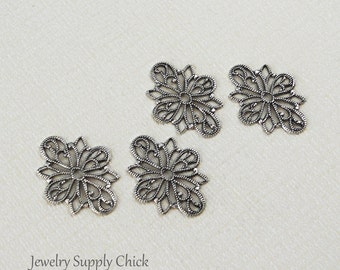 Filigree connector antique silver (X4)