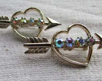 vintage 60's hearts with arrows scatter pins pair with rhinestones  heart  Valentine  pin brooch