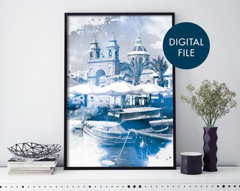 Marsaxlokk Malta Watercolour Print Wall Art   Print At Home   Digital Download File