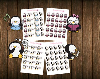 Teensy Weensy Set of 4 Penguin #2 Themed Planner Stickers - Erin Condren Planner Stickers - Happy Planner - Plum Paper - Functional Stickers