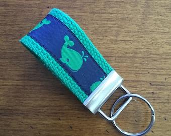 Whales, Mini Key FOB, Key Chain, Key Holder, Keyfob Wristlet Keychain, Accessories, House Keys