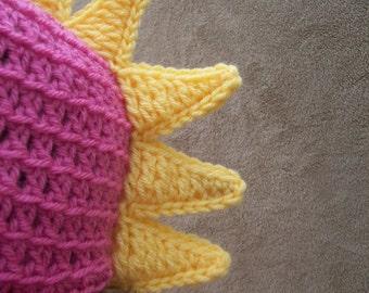 Dragon Hat in Bright Pink - Crochet Dinosaur Hat, Dino Hat for Girls, Costume Hat