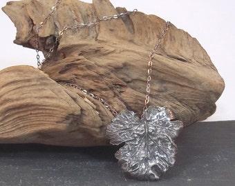 Fine Silver Geranium Leaf Pendant