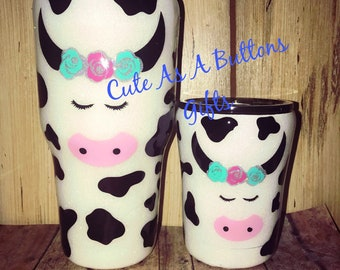 Mommy and Me Tumbler Set,Glitter Tumbler, Glitter 30 and 10 ounce Tumbler, Cow Glitter Tumbler, Glitter Monogram Tumbler, Mama Cow, Baby Cow