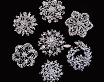 Rhinestone Brooch Set - Flat Back Jewelry Supply - Brooch Bouquet Supply Crystal Bouquet Brooch Pin Supply Rhinestone Embellishment Button