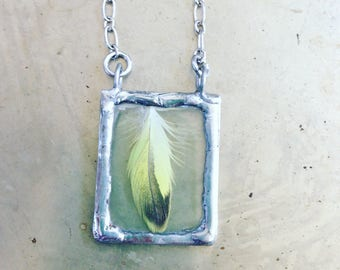 Yellow Feather Necklace Woodland Chic Bohemian Fashion