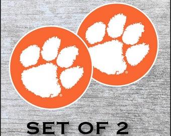 "Clemson Tigers Sticker Decal Vinyl  SET OF 2 (12"", 17"") Cornhole Car Truck Any Flat Surface Wrap"