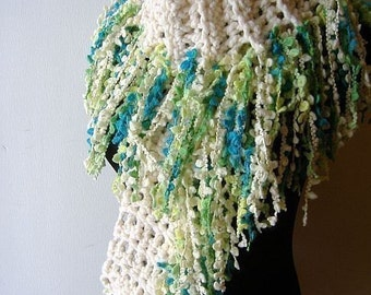Fringe Scarf in White with Teal Blue Green Fringie Fibers