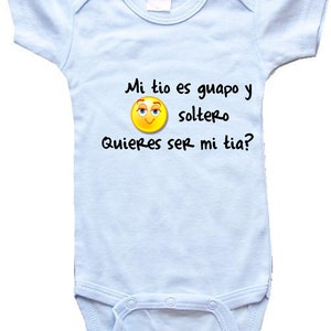 Blue white baby etsy baby one piece personalized gifts spanish mi tio es guapo y soltero negle Images