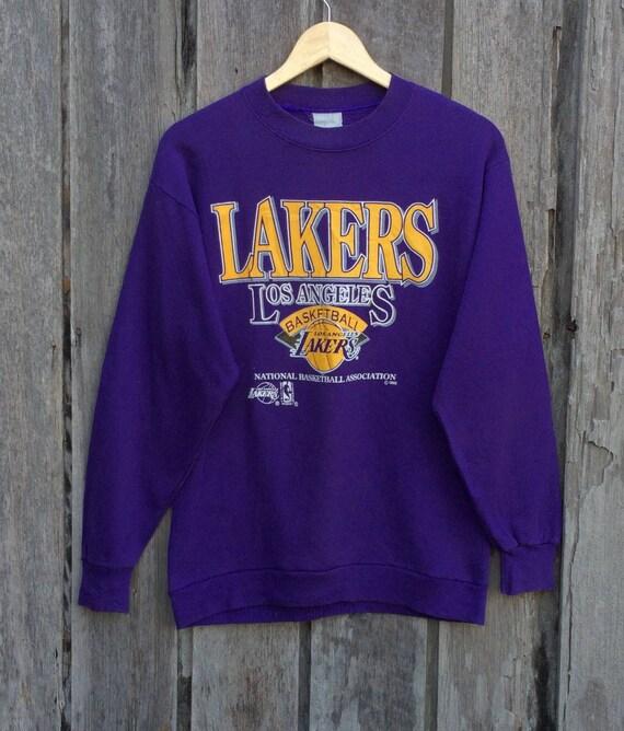 Vintage LA LAKERS// NBA// Basketball //Nice Fullprint// 50/50 Materials// Made in Usa VYZYU8