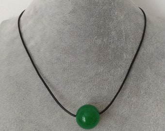 beautiful 20 mm green jade leather rope necklace , no metal