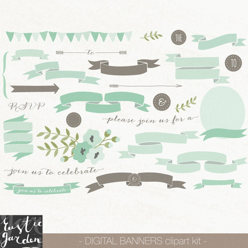 62 MINT and BROWN banner clipart. Scroll ribbon and floral
