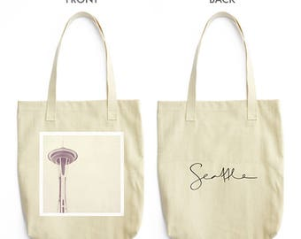 tote bag, shopping bag, Seattle photo, farmers market tote, Space Needle photograph, gray light purple, white, book bag, grocery bag, travel