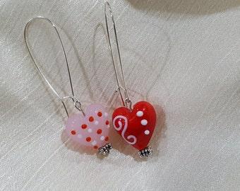 Glass Heart Long Hoop Earrings
