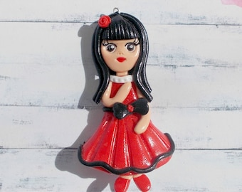 Pendant girl, Princess. Doll in a red dress.Polymer clay jewelry, Fimo cute girly doll clay pendants