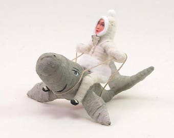 Vintage Inspired Spun Cotton Whale Rider Figure (MADE TO ORDER)