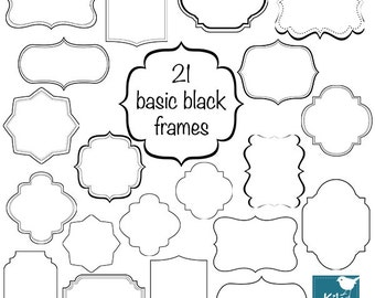 Simple Black Frames - Digital Clipart / Scrapbooking card design, invitations, paper crafts, web design - INSTANT DOWNLOAD